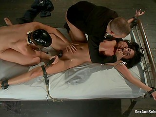 Loud moans won't help tied to the bed brunette escape from master and his dominated slut