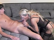 Deliveryman brought the parcel but German lady in lingerie liked him so much that they fucked