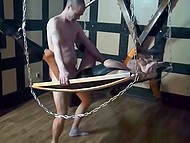 Cool lad with a pierced cock fucks lusty German MILF in leather dress on a swing