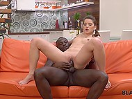 Incredible teen with ponytail after blowjob offers her pussy to black stud's cock 10
