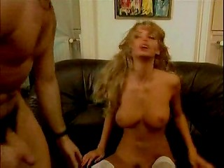 Nice blonde in white stockings banged hard