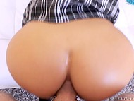 After the warm up with finger dark-haired babe in schoolgirl uniform gets fat dick in her ass  7