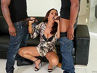 Two big black guys get their dicks sucked and double penetrate gorgeous MILF on the couch 5