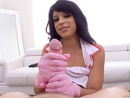 Ebony nurse Amethyst Banks strokes white meatstick motivating guy to taste her asshole 7