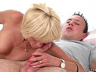 Blonde granny Diane Sheperd still in great shape to suck and ride cock of young lover 4
