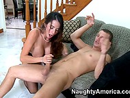 Superb brunette mounts the guy on the sofa and doesn't let him go till her hairy pussy is pleased 9