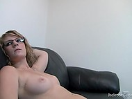 Attractive girl in eyeglasses slowly undresses and offers her pussy for a lick to the cameraman 10