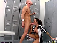 Gorgeous referee with tattoos all over the body gives blowjob and fucks like a slut in the locker room 11