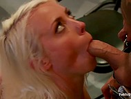 Sexy blond while being abused moans like a bitch she is and entertains the crowd in tattoo studio 11