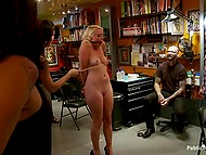 Sexy blond while being abused moans like a bitch she is and entertains the crowd in tattoo studio 7