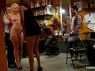 Sexy blond while being abused moans like a bitch she is and entertains the crowd in tattoo studio 9
