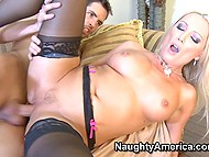 Light-haired slut in stockings always spreads legs for young guys when husband goes on a business trip 10