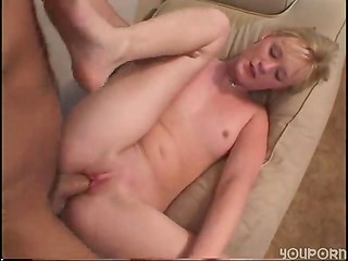 Blonde schoolgirl getting used by older man