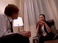 After the interview test, Japanese guy invites woman to drink whisky and tries to reach her pussy 8