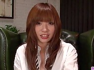 Japanese college girl with red hair decides to take part in porn video where she has to suck dick 4
