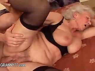 Tenant fucks blonde old landlady in black stockings and there are no words to describe how happy she is