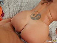Full-bosomed stunner Ava Addams with ying-yang tattoo on lower back prepares black stepson for a date by fuck 11