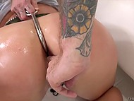 Bearded nerd uses cock checking how deep Skylar Snow's throat is and then fucks her asshole 11
