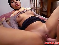 Arab girl and motel owner make a deal according to which she spreads legs and receives money