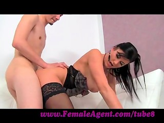 Female agent: brunette MILF fucks future actor