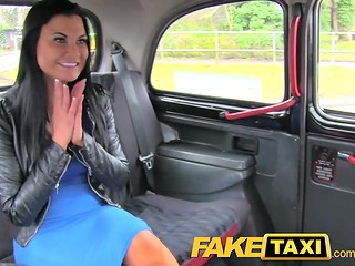 Fake taxi: busty brunette gets penetrated by long and fat cock