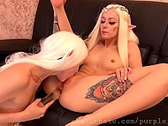 Two incredibly beautiful lesbian elves are quite naughty and eager to try dildos on their asses
