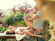 Girl wanted to change the atmosphere a bit and make love with her boyfriend in the garden
