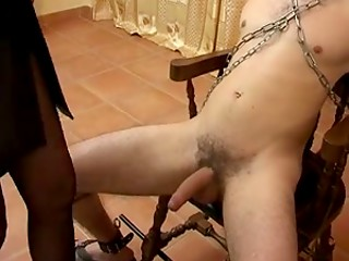 Male sex slave gets handjobed by dominatrix woman