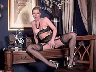 Smoking-hot MILF in sexy outfit sneaks in her cabinet to perform there little strip show