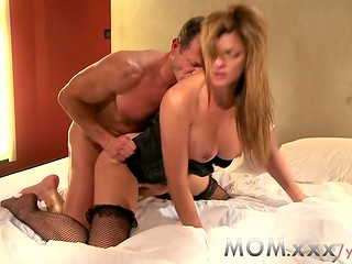 Mature Clarisa in stockings gets poked by her lover George