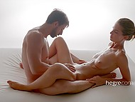 Masseuse works with his hands and mouth, showing her husband what is her job