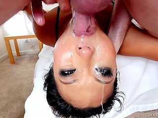 Lecherous Asian whore in fishnet bodystocking can give upside down deepthroat blowjob