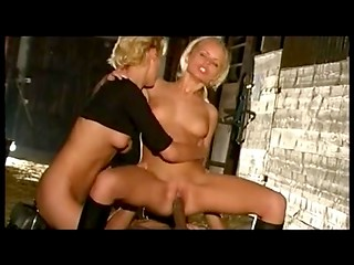 Two Swedish blondes with bald pussies getting pleasured in threesome