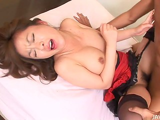 When oriental redhead gets good pussy-thrashing from her man, she allows him to cum inside