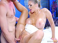 Julia Ann's pantyhose are destined to be torn by masseur who will drill vagina with young hard cock