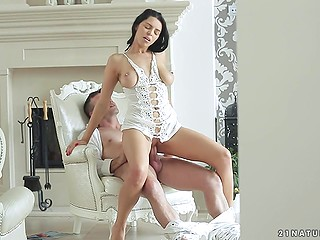 Tight pussy and natural breasts are the main advantages of beautiful brunette Kira Queen