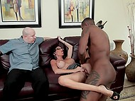 Black stallion shows bald loser how he needs to fuck tight pussy of nerdy brunette wife