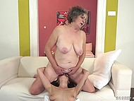 Old lesbian licks young ass of the partner, and the satisfaction of her hairy vagina will take much more time