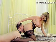 Dominatrix is cheerful and playful having a slave who allows her to sit on his face