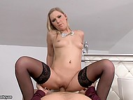 Lucky cameraman interrupts shoot to have anal sex with slender blonde model in stockings