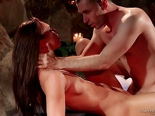 Innocent chick Aidra Fox copulates with skillful BF on terrace until his boner is ready to erupt cum