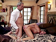 After flight handsome pilot passionately makes love with slender wife India Summer in the bed
