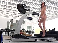The Latin girls are very strange logic: to walk on a treadmill naked, but for heels