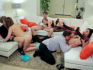 Like-minded friends get together to bonk their girls in fannies in front of each other