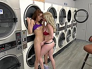 Laundry became a refuge for hungry blonde who indulges in all serious with the red