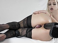 Naughty blonde in stockings KsuColt anally masturbates using pump and other sex toys