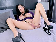 Full-bosomed brunette Reagan Foxx masturbates secretly from husband and films it