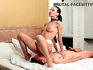 Imperious brunette adores dominating her submissive male partner via kinky facesitting