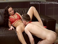 Impudent brunette dominates over weak hubby forcing him to lick her trimmed snatch
