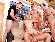 Simpotnaya blonde insatiable in terms of sex, so gang Bang is perfect for her